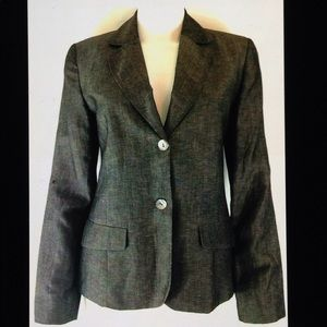 Chico's Gray Linen Blend Lined Button Front Blazer